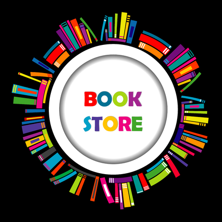 book shop: Bookstore round frame with colorful books on black background
