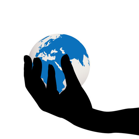 hand holding globe: Hand holding the Earth globe
