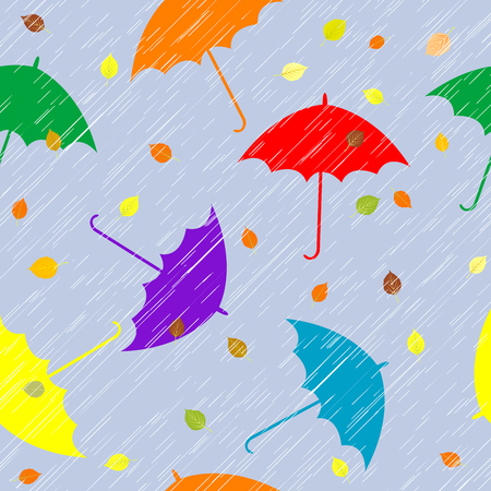wet leaf: Rainy autumn background with umbrellas and leaves Illustration