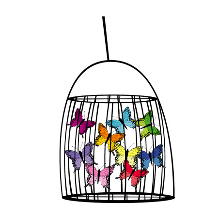 Captive butterflies in a cage Stock Vector - 68631553