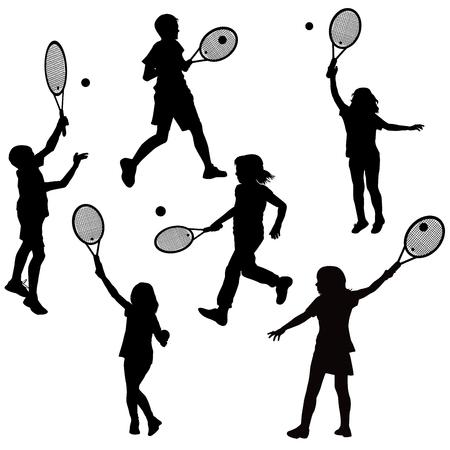 Silhouetten van kinderen die tennis spelen Stock Illustratie