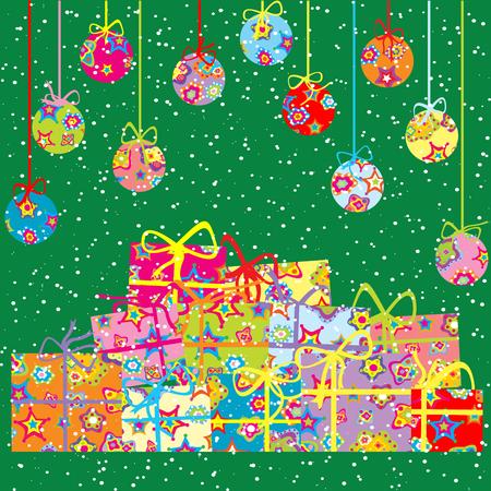 gift season: Christmas greeting card with present boxes and balls