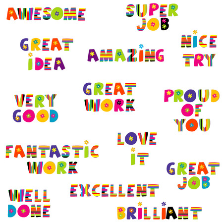 amazing: Positive feedback messages in colorful pattern