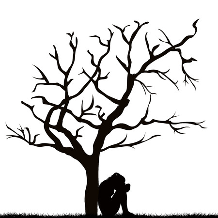sad lonely girl: Silhouette of a sad young woman under a leafless tree Illustration