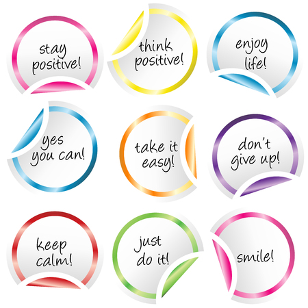 don't give up: Round stickers with curled corners with positive  messages