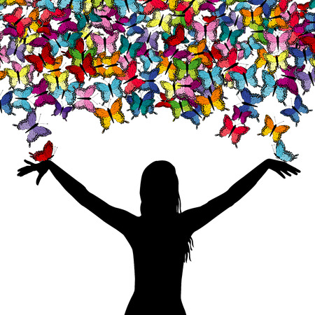 Woman silhouette with colorful butterflies