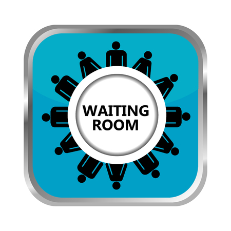 black business men: Waiting room button with group of people Illustration