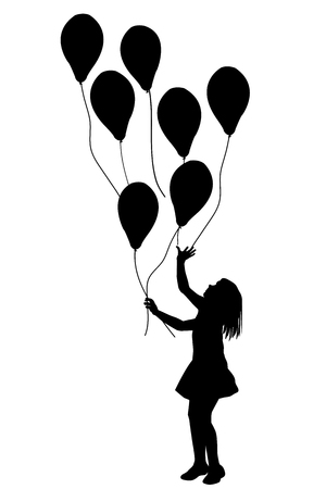 silueta niño: Silueta de chica con globos sobre fondo blanco