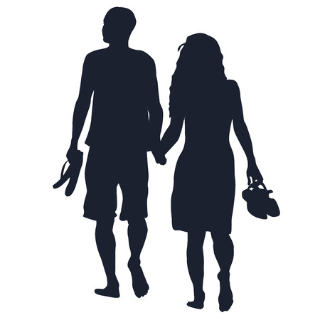 sunset beach: Silhouettes of lovers walking barefoots on white background
