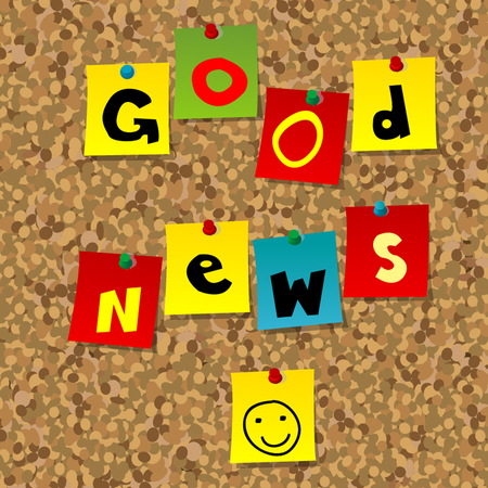 Cork board with multicolor notes and words Good news Illustration