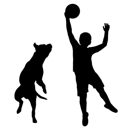 jumping: Silhouette of boy and dog playing together Illustration