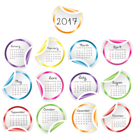julie: Calendar 2017 with round glossy stickers