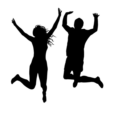 man jumping: Couple of woman and man silhouettes jumping Illustration
