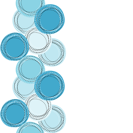 sewed: Blue sewing round shapes and place for text Illustration