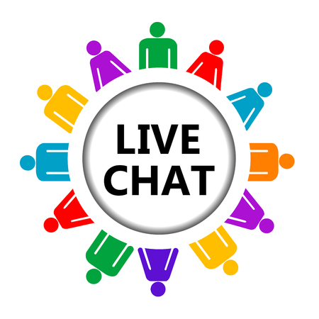 chat: Live chat icon on white background Illustration