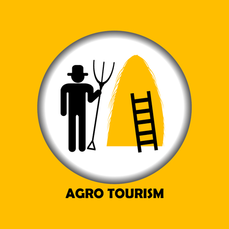 agro: Illustration of agro tourism icon with farmer