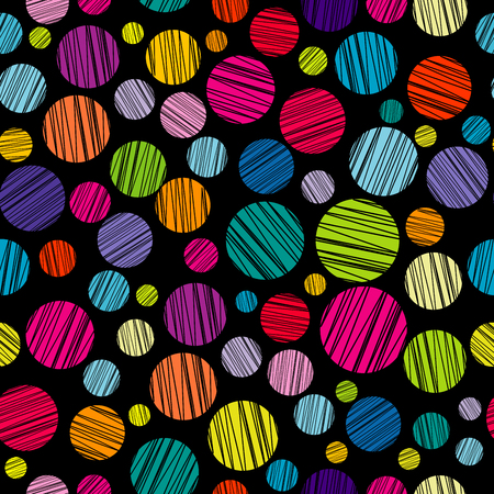 hatched: Seamless pattern with colored hatched circles on black background