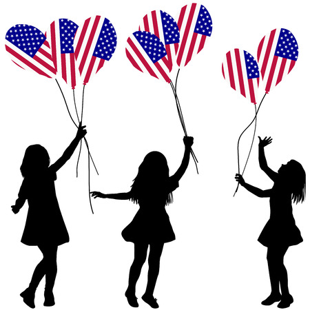 patriotic: Girls silhouettes with USA patriotic balloons Illustration