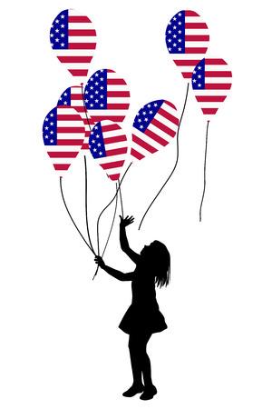 banderas america: Girl silhouette with USA patriotic balloons Vectores