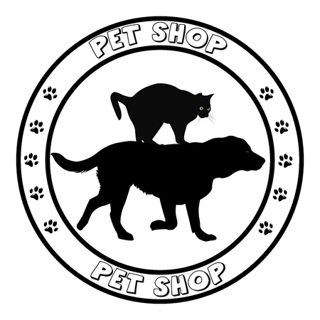 two animals: Pet shop icon round frame with dog and cat silhouettes