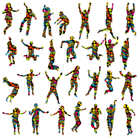 men and women: Dotted pattern adults and children silhouettes jumping
