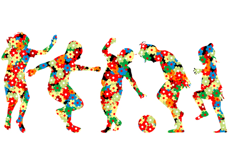 Children silhouettes made of  colorful flowers pattern Illustration