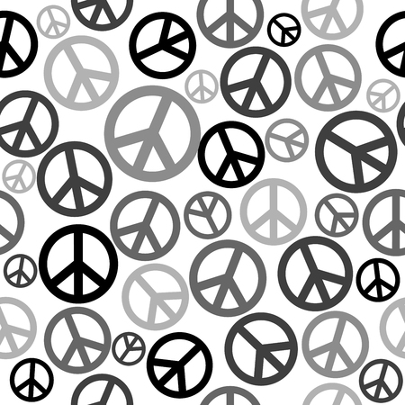 calmness: Black and white peace sign seamless background