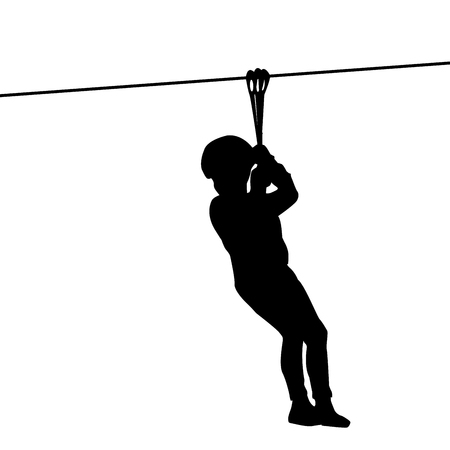 traverse: Black silhouette of a kid playing with a tyrolean traverse