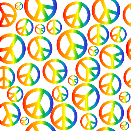 Peace symbol with circular rainbow gradient seamless background