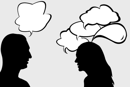 woman speaking: Dialogue between woman and man Illustration