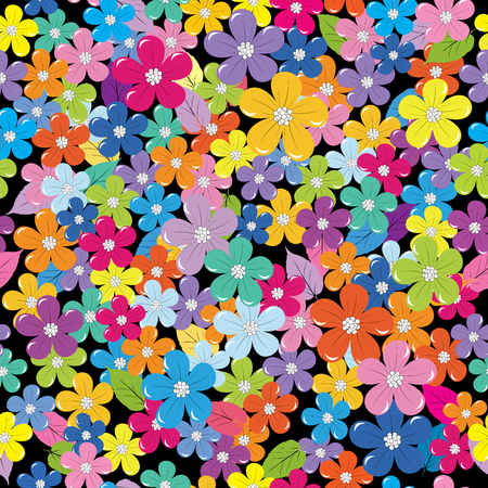 fabric pattern: Multicolored floral background