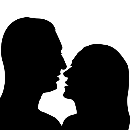 relationships human: Silhouettes of man and woman preparing for a kiss