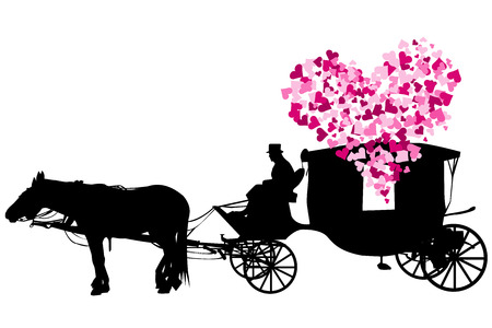 Love carriage with pink hearts on white background Illustration