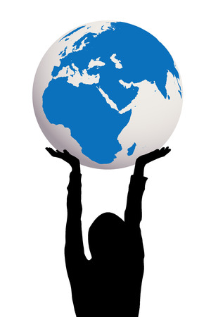 hand holding globe: Woman silhouette holding Earth globe in hands Illustration