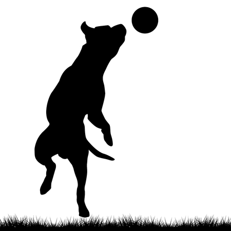 Dog silhouette playing with ball. Illustration