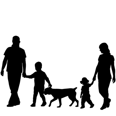 Family silhouettes with two children and dog. Illustration