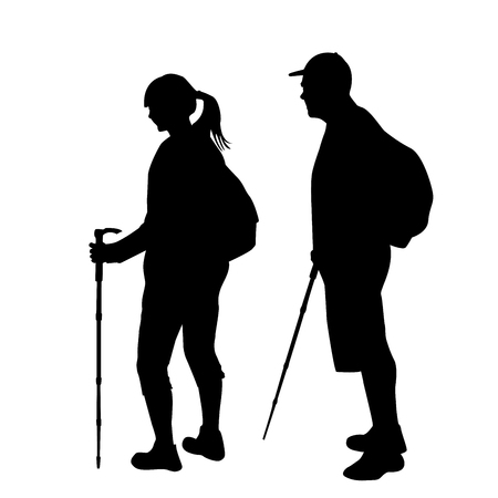 Silhouettes of two hikers with backpacks on white background Illustration