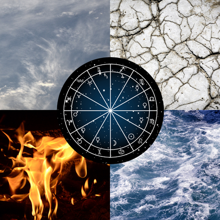 Astrology background with zodiac wheel astrology natal chart and the four elements of nature
