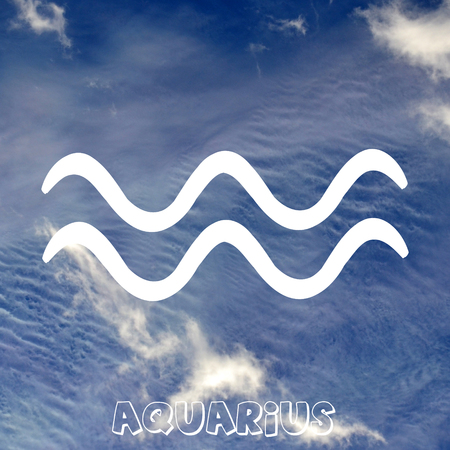 Aquarius zodiac sign on air element background