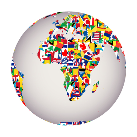 Globalization concept with Earth globe and all flags of the world Illustration