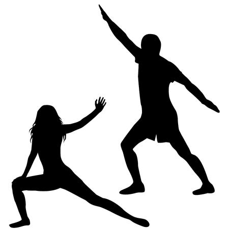 salud y deporte: Siluetas de hombre y mujer practicando yoga sobre fondo blanco Vectores