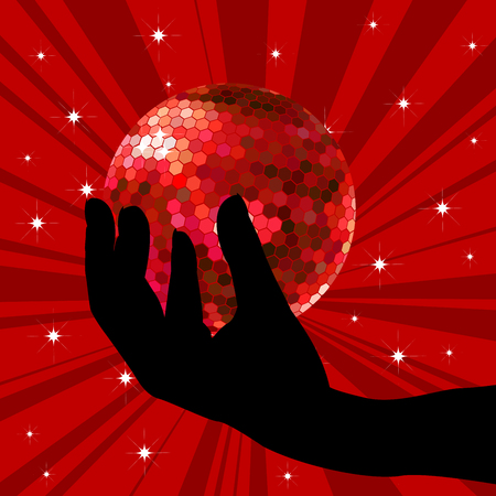 Hand holding a red disco ball Illustration