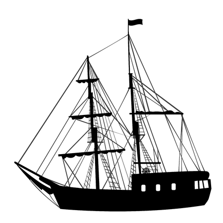 Silhouette of a black sailing ship on white background Illustration