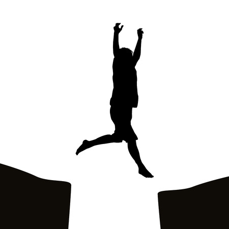 risky: Man silhouette jumping over a gap Illustration