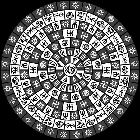 Zwart-wit ronde ontwerp met etnische symbolen