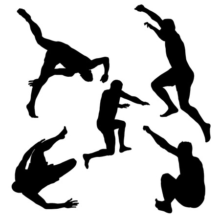 Silhouettes of men jumping, isolated on white background.