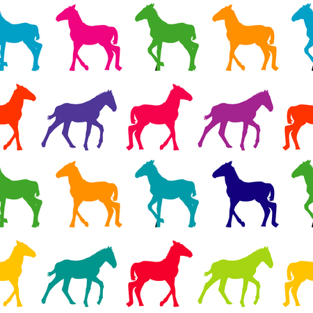 foal: Colorful seamless background with foals silhouettes