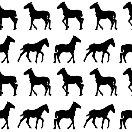 Seamless background with foals silhouettes Illustration