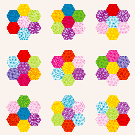 Patchwork pattern with flowers made of multicolor hexagonal patches