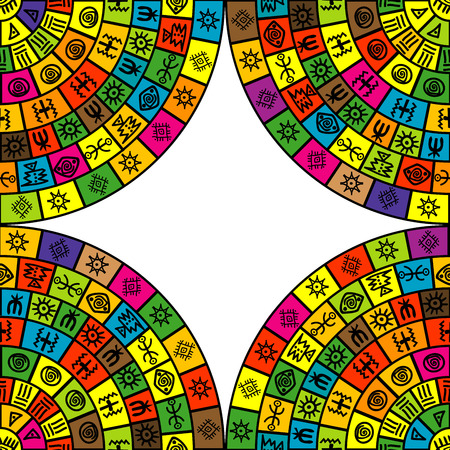 Abstract frame with round shapes and ethnic symbols